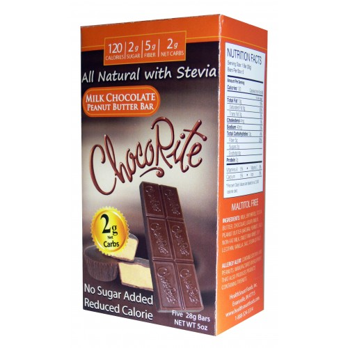 HealthSmart Foods ChocoRite Chocolate Bar, 5pack - Click Image to Close